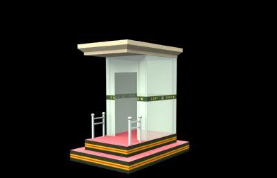 武警崗亭,警衛室現代場景3D模型