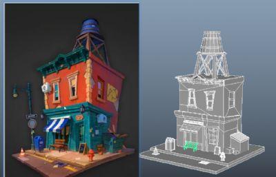 卡通風的兩層房子OBJ模型