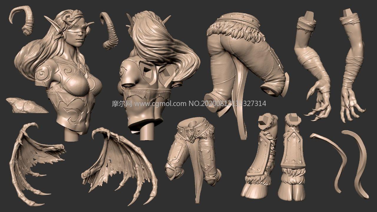 炫酷的女版惡魔獵手擺件模型,15個STL文件,可3D打印