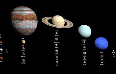 全網最全太陽系行星與衛星3D模型,不含體積過小天體,貼圖整理不易多多支持