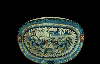 寫實清代荷包,清朝文物,貴族配飾3D模型,FBX格式