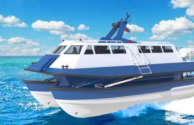 高速雙引擎游輪,客船模型,RHINO設計,3DM,STP格式