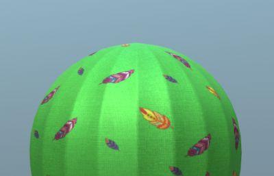 綠色熱氣球3D模型
