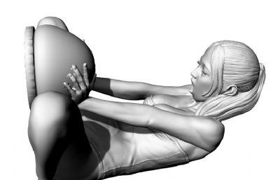 表情夸張的鴨子坐睡衣女孩OBJ格式模型
