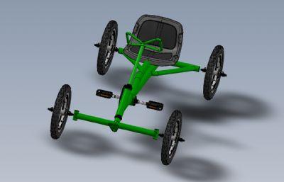 四輪腳踏車,自行車Solidworks設計圖紙模型