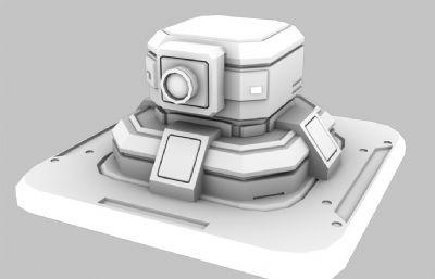 次世代科幻小炮塔OBJ模型白模