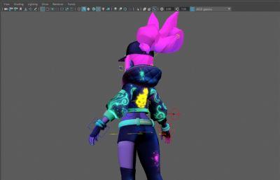 動漫街舞風格的阿卡麗,K/DA皮膚,帶綁定的maya模型,貼圖全