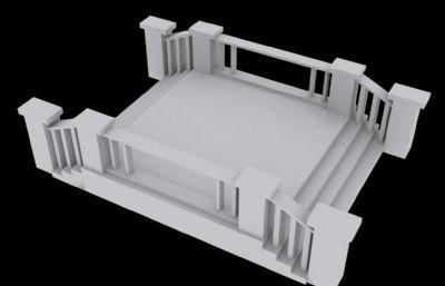 木制臺階平臺,銜接木橋3D模型素模