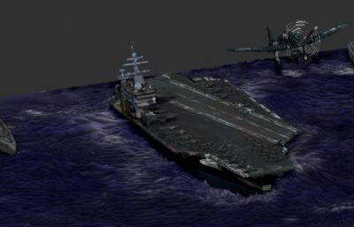 航母+戰列艦群+艦載戰斗機場景Zbrush模型